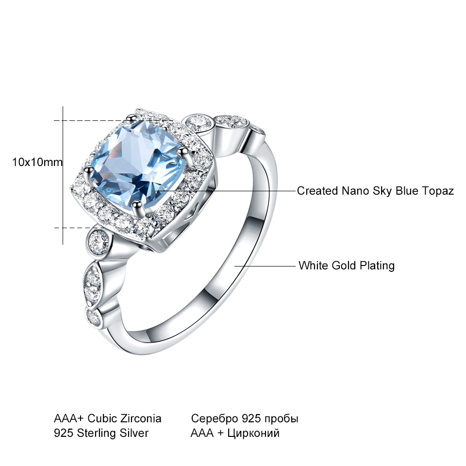 UMCHO Real S925 Sterling Silver Rings for Women Blue Topaz Ring Gemstone Aquamarine Cushion Romantic Gift UMCHO Real S925 Sterling Silver Rings for Women Blue Topaz Ring Gemstone Aquamarine Cushion Romantic Gift Engagement Jewelry