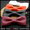 Gentleman Wedding Party Tuxedo Marriage PU leather Bow Tie slim Pure color Adjustable Business Bowties For Gifts