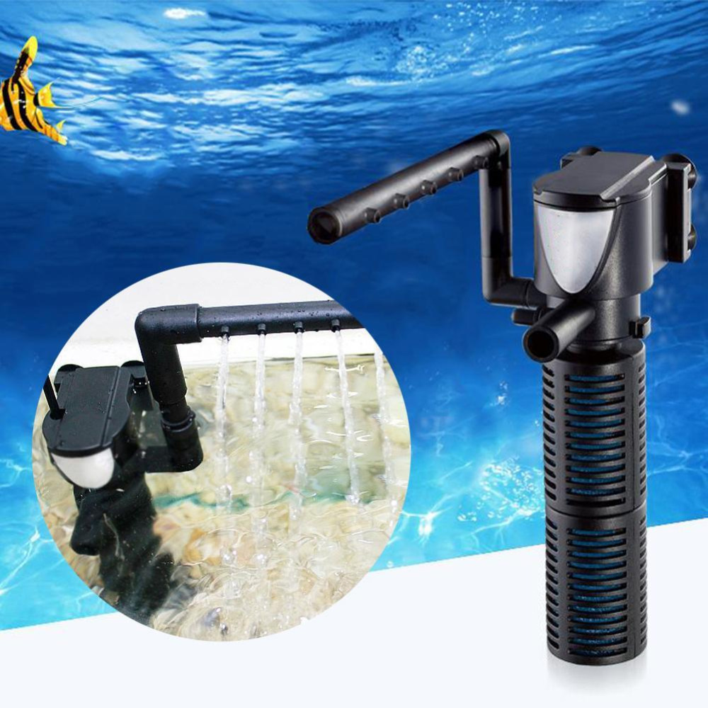 Aquarium fish tank external filter ef 1 1000l h - Mini 3 In 1 Aquarium Filter 5w Multi Function Aquarium Fish Tank Internal Purifier Submersible Pump Spray Water Tank Filter