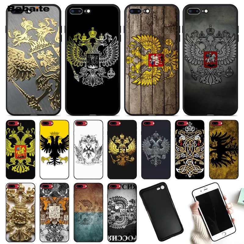Babaite rússia brasão de braços dupla cabeça águia tpu preto caso do telefone capa para apple iphone 8 7 6 s plus x xs max 5 5S se xr