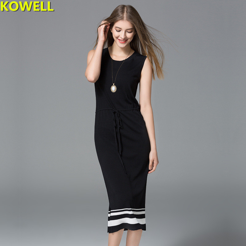 2018 Summer Clothes For Women Sweater Dress Casual Striped Contrast Color O-Neck Elegant Bodycon Knitted Sleeveless Pencil Dress
