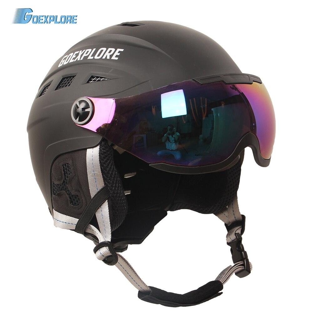 Goexplore casque de Ski demi couverture adulte extérieur Sport léger casque avec lunettes masque neige Gear Skateboard Snowboard casque enfant