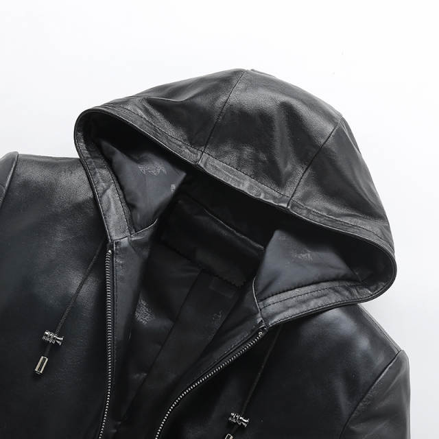 e7106df45 New Mens Spring Autumn Jacket Cap Zipper Sheepskin Coat For Men Blouson  Moto Homme Chaqueta De Cuero Para Hombre Leather Jacket