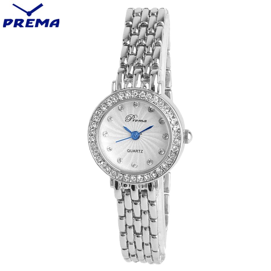 ФОТО Ladies Fashion Quartz Watch Women PREMA Stainless Steel Montre Femme Marque De Luxe Rhinestone Watch Female Wrist Watch Gifts