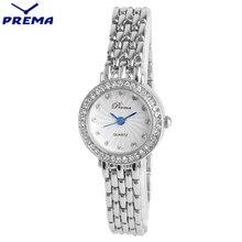 Señoras de la manera mujeres del reloj del cuarzo prema acero inoxidable montre femme reloj mujer reloj de pulsera de marca de lujo de diamantes de imitación regalos