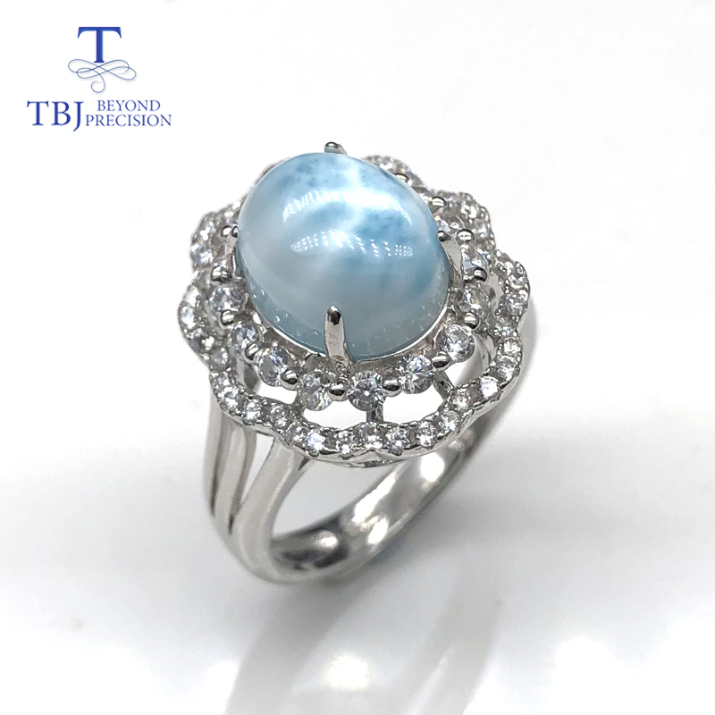 natural oval 8*10mm 3ct gemstone larimar rings 925 sterling silver ring fine jewelry nice anniversary gift for wife,mom