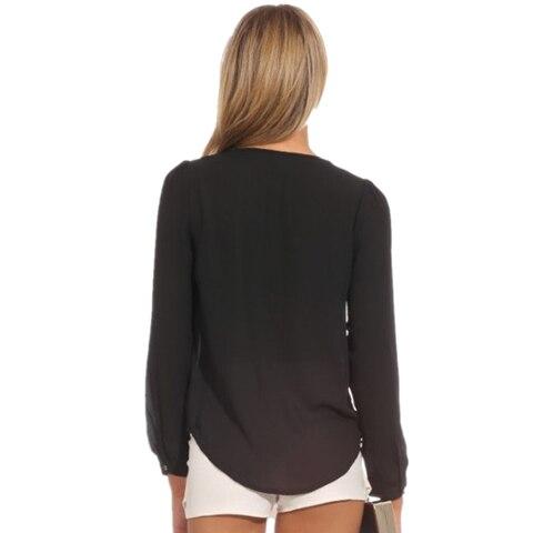 CUHAKCI Women Chiffon Blouse Shirts Deep V Neck Sexy Shirts Long Sleeve Solid Tops Casual Shirt Blusas Feminina Plus Size Shirts Karachi