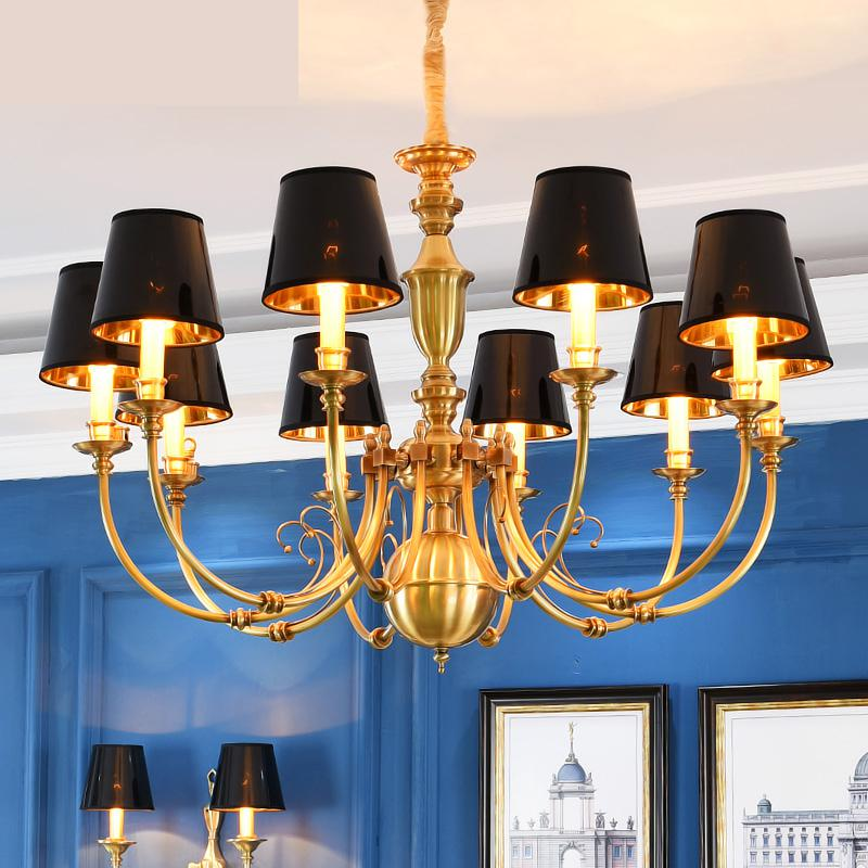 Modern Led Chandeliers American Antique Living Room Lamp Villa Building Chandelier Lighting Restaurant Chandelier