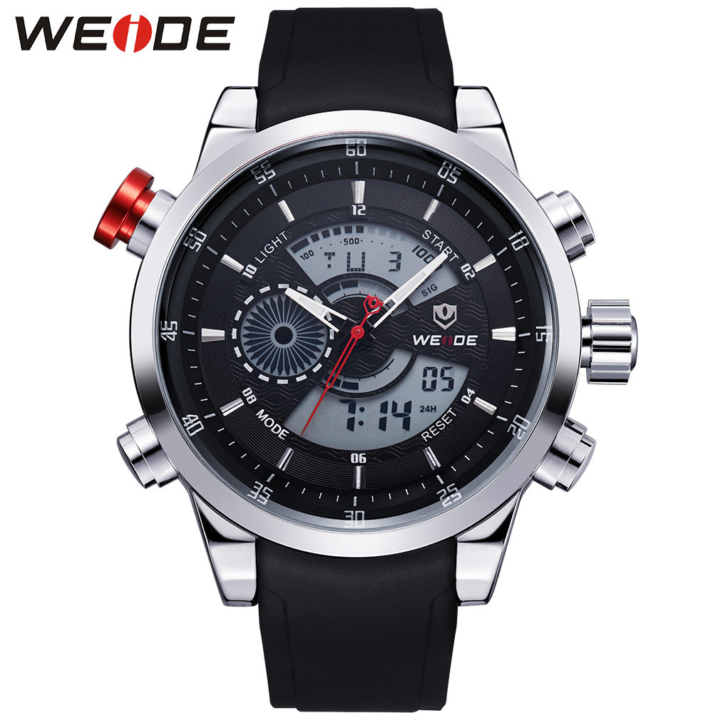 WEIDE Men's Military Sport Quartz Army Watch Back Light Stopwatch Black PU Strap Band Buckle Date Day Alarm Watches for Men weide men running sports quartz watch black strap dual date day back light analog digital alarm clock military watches