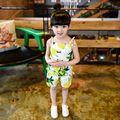 Conjuntos de Roupa Da Menina de verão Bebê Meninas Do Estilo Coreano Limão Impressão Halter Tops + Frutas Calças Curtas Crianças 2 Pcs Terno
