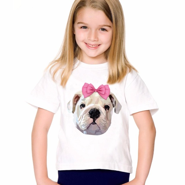 c1eaabc8 TEEHEART Boys/girls's Modal T-shirt Pink Bow Tie Printed Harajuku Animal  Bulldog T Shirt Children O-neck Short Sleeve Tee TA749