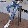 2017 Случайные женщины джинсы Шаровары Тощий Разорвал Старинные Середине Талии рваные джинсы женщин размер 26-31