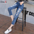 2017 Casual women  jeans Harem Pants Skinny Ripped Vintage Mid Waist torn jeans women size 26-31