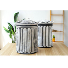 цены на New Stripe with Zipper Covered Waterproof Laundry Basket Dirty Clothes Sundries Toy Storage Basket Round Folding Storage Bucket  в интернет-магазинах
