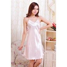 New Summer Plus Size S-2XL Women Solid Sleeveless Chemise Slip Sleepwear Sexy Babydolls Satin Silk Soft Nightie Nightdress