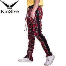 Joggers Pants Men Streetwear Zipper Designer Long Pants Tartan Hip Hop Men Trousers Sweatpants High Quality Male Casual Pants