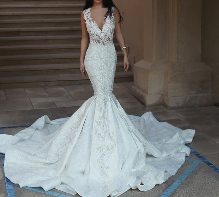 Mermaid Style Lace Wedding Gowns: Luxury Catahdral Train Wedding Dress Mermaid Style 2019
