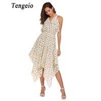 Tengeio Women Sleeveless Bohemian Floral Print Dress V Neck Chiffon Ruffles Party Elegant Beach Asymmetrical Tunic