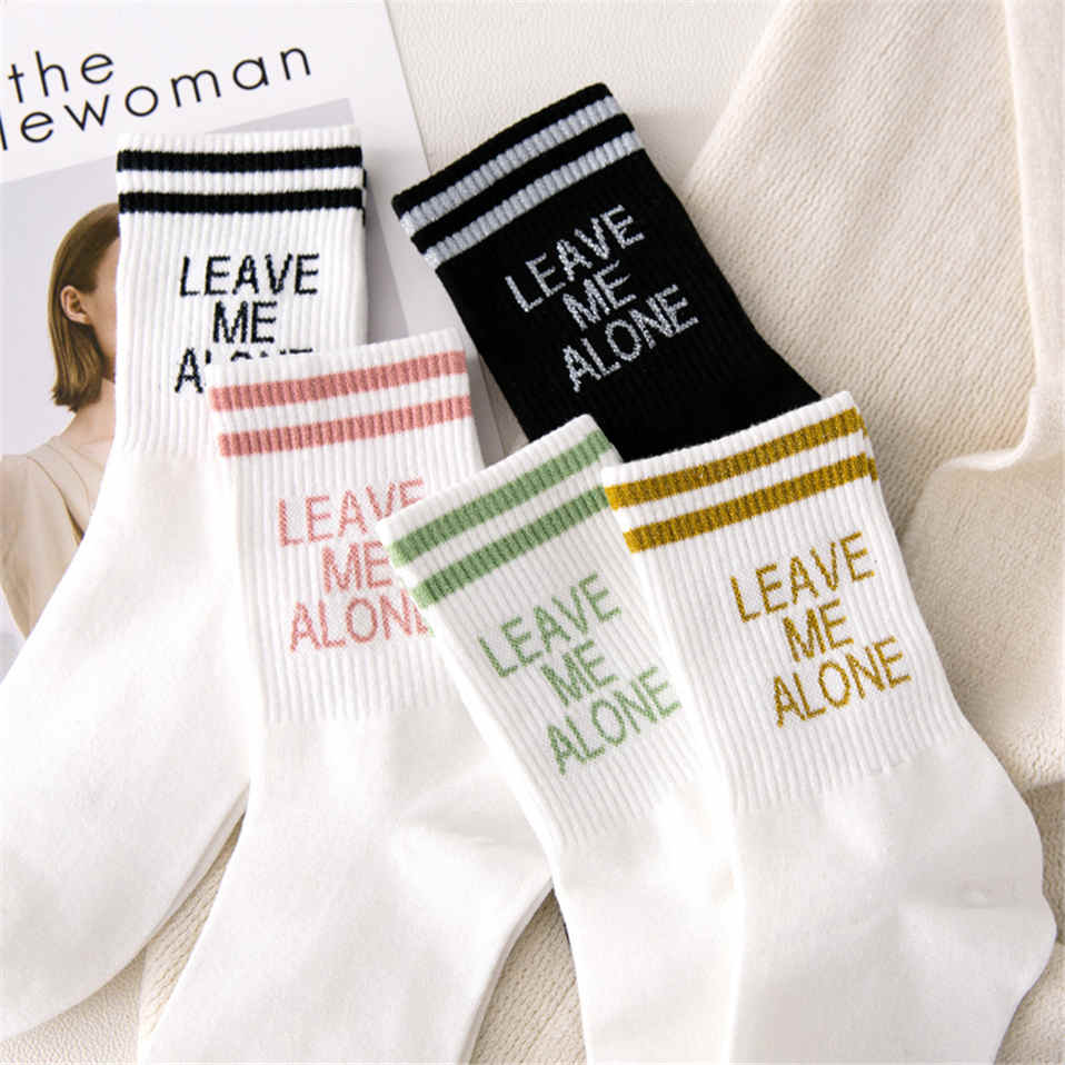 2019 Socks For Women Stripe Print Letter Leave Me Alone Cotton Socks Breathable Chaussettes Femme Hip Hop Skateboard Crew Sokken
