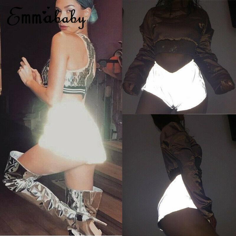 Womens Ladies Summer Fashion Luminous Reflective   Shorts   Hot Dance Party Casual Nightclub Gym Wear