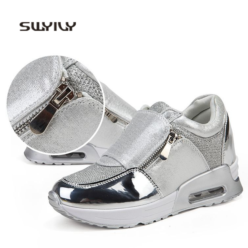 SWYIVY WomenToning Shoes Zip Inner Height 2cm Swing Sneakers 2018 New Thick sole 4cm Light Female