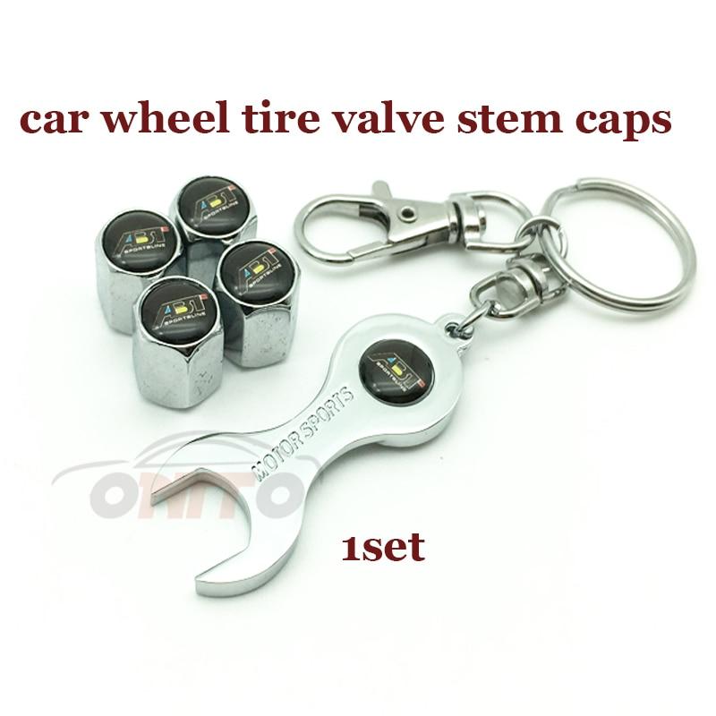 1 Set Car Wheel Tire Valve Stem Cap Auto Key Chain Holder Metal For ABT Logo Badge For A1 A2 A3 A4 A5 A6 A7 A8 Q1 Q3 Q5 Q7