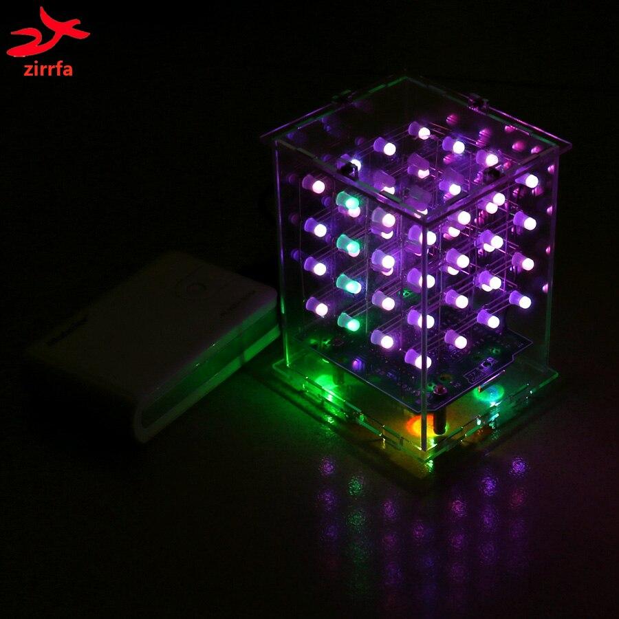Где купить Zirrfa Новый 3D 4X4X4 RGB cubeeds полноцветный светодиодный дисплей, электронный набор для самостоятельного изготовления 3d4*4*4 для Audrio