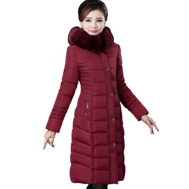 Casaco de inverno jacke para baixo acolchoado-algodão de alta qualidade para mulheres de meia idade long slim grosso parka mulheres idosas plus size casaco kp1290