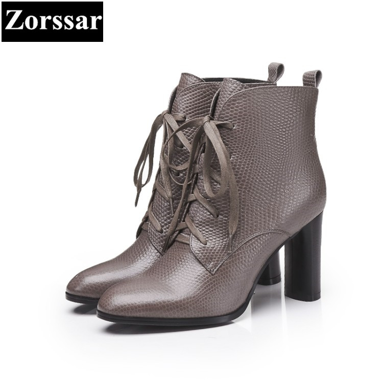{Zorssar} Large size Women Boots Thick heel pointed Toe lace up High heels ankle Motorcycle boots fashion womens shoes winter купить