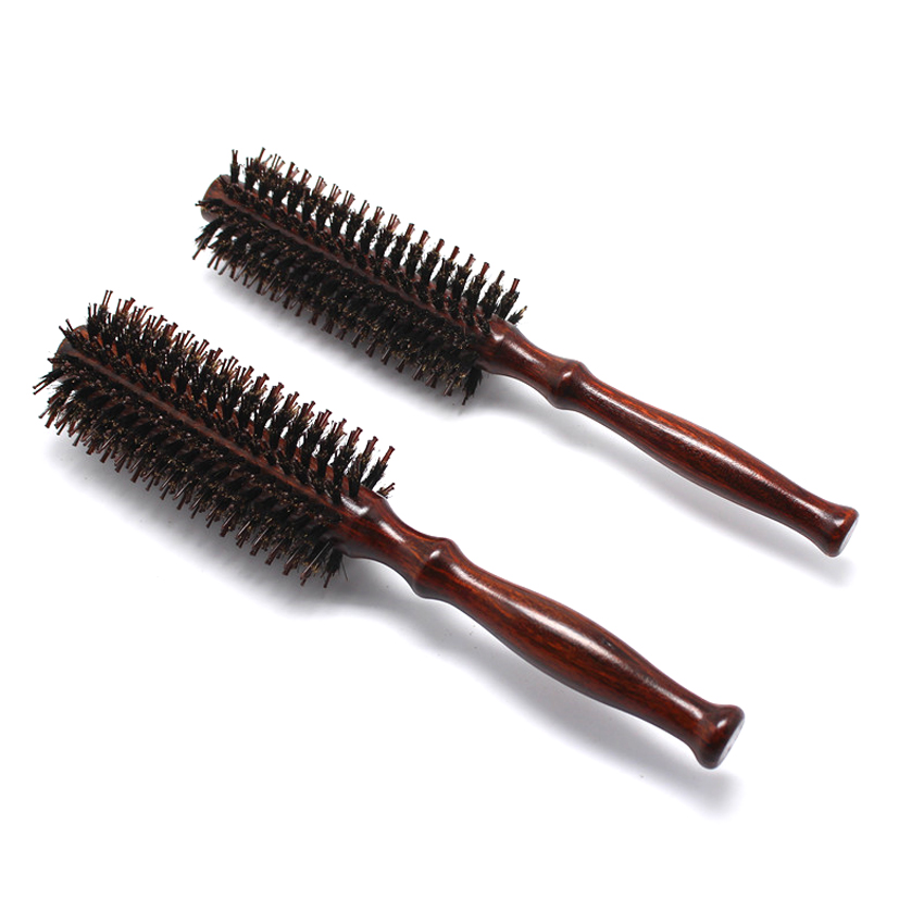 Pro 1 Pcs Antistatic Heat Resistant DIY Boar Bristle Hair Curl Brush Salon Wooden Round Hairdressing Hairbrush 2 Size Available