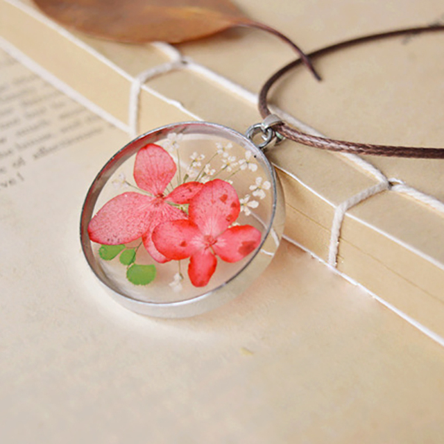 49d7960d89 Handmade Simple Healing Terrarium Crystal Glass Dried Flower Daffodil  Pendant Floating Locket Necklace Women Accessories
