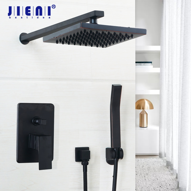 все цены на Black Luxury Wall Mounted Bathroom Rainfall shower faucet Sets 8/10/12 inch Oil Rubbed Bronze head & hand shower Shower Sets онлайн
