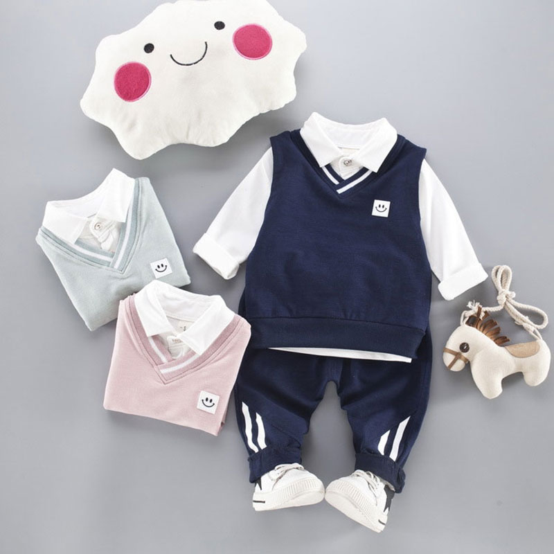 2017 Autumn Baby Boy Clothing Sets Warm Outerwear Suits for Newborn Infant Cotton Clothes Set Blouse+Vest+Pant Toddler Boy Cloth 2pcs set cotton spring autumn baby boy girl clothing sets newborn clothes set for babies boy clothes suit shirt pants infant set