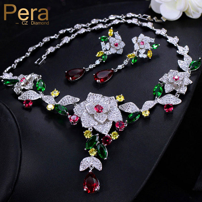 Pera Noble Bridal Wedding Jewelry Accessories Big Heavy Flower Pendant Cubic Zirconia Necklace And Earrings Set For Brides J247 a suit of noble rhinestoned bar pendant necklace and earrings for women