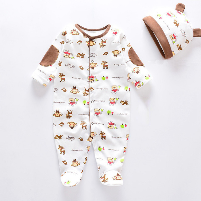 Fashion 2019 Infants Baby Boys Girls Rompers With Baby Caps Baby Pajamas 100% Cotton Baby Clothes Sets