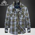 Нянь AFS джип оптовая продажа цена осенне-зима мужчины чистой природы хлопок полный рукав рубашки, Оригинальный бренд человек , работающий плед мотоцикл рубашка