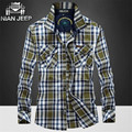 Nian AFS JEEP Wholesale Price Autumn Men Pure Nature Cotton Full Sleeve Shirt,Original brand Man Working Plaid Motorcycle Shirt