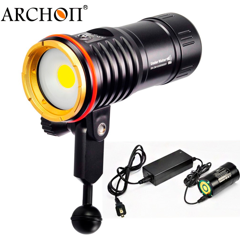 ARCHON WM16 DM10 diving video light max 2700 lumen COB LED dive spot 100 meter underwater photography torch with battery pack archon d26vr 2000 lumen white and red led scuba diving underwater photography video light