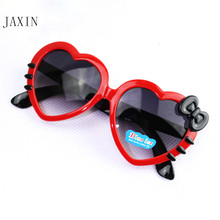 JAXIN Fashion heart-shaped Kids Sunglasses  personalized cute Baby Girl cartoon color goggles UV400 favorite