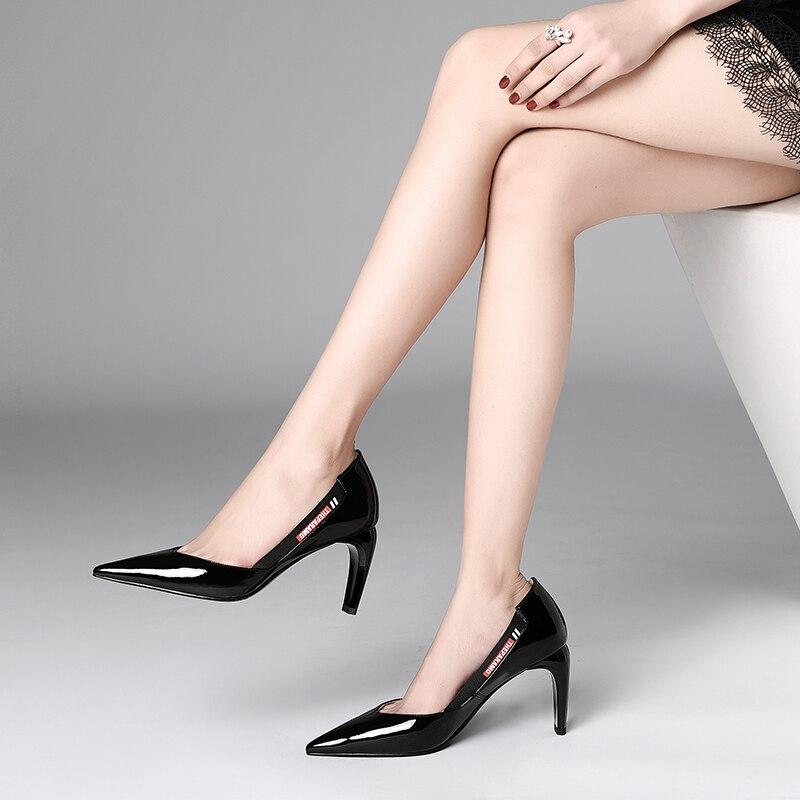 Talons À Bouche Femmes Verni Hauts Avec Lacets Pointu En Femelle Des Simples Chaussures Profonde Peu De Cuir BqxAqrfdw
