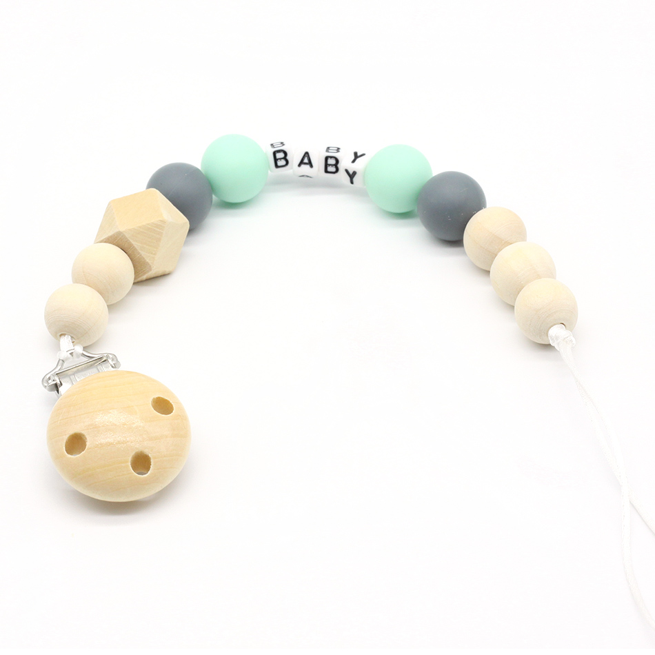 Personalized Any Name Silicone Wooden Baby Pacifier Clip, Soother Clips, Non-toxic, Teething Toy, Dummy Clips, Attache Sucette