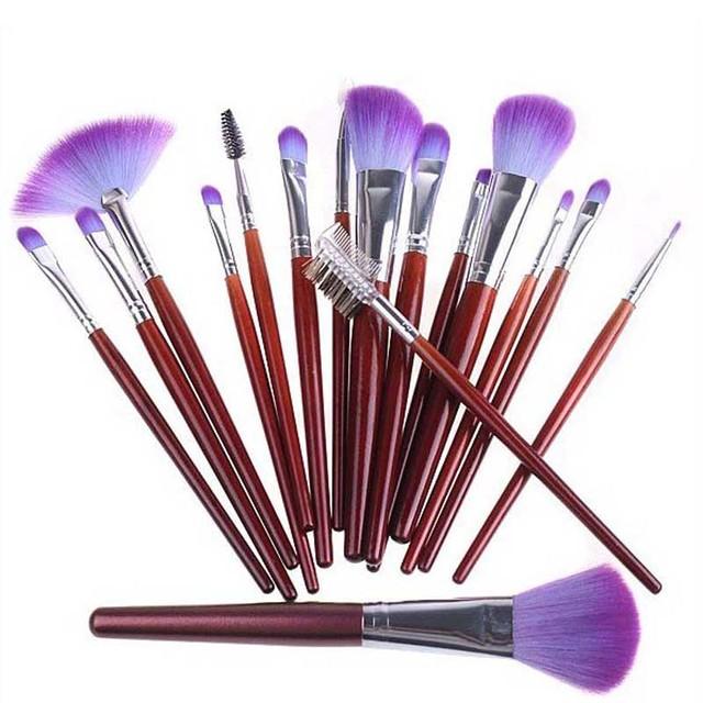 Descuento grande 16 unids pinceles maquillaje profesional conjuntos kit cosmético del cepillo + funda de cuero púrpura envío de la gota