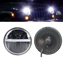 7″Inch Round Led Headlight DRL&Amber Turn Lights Fit Jeep Wrangler JK TJ LJ CJ Willys Wheeler Rubicon Sahara Hummer 1&2 Defender