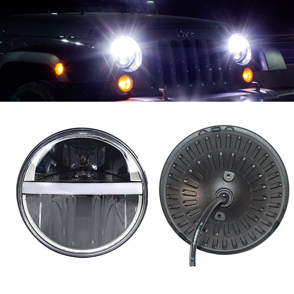 7Inch Round Led Headlight DRL&Amber Turn Lights Fit Jeep Wrangler JK TJ LJ CJ Willys Wheeler Rubicon Sahara Hummer 1&2 Defender