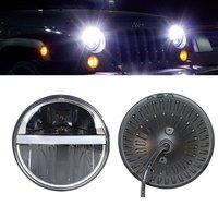 7 Inch Round Led Headlight DRL Amber Turn Lights Fit Jeep Wrangler JK TJ LJ CJ