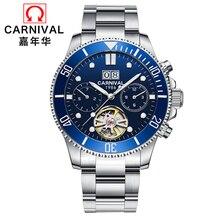 купить Carnival tourbillon Automatic Mechanical watch men full steel waterproof Men Watches Clock reloj hombre erkek kol saati relogio дешево
