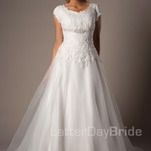 cecelle A-line Floor Length Cap Sleeves Wedding Dress With