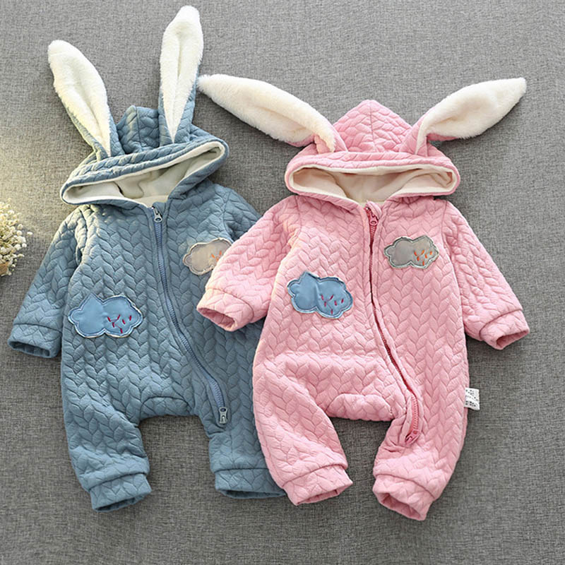 Baby Kids Girls Roupas Bebe Clothing Cotton Winter Boys Rompers Rabbit Ear Hooded Infants Outfits Overalls Jumpsuits cotton baby rompers set newborn clothes baby clothing boys girls cartoon jumpsuits long sleeve overalls coveralls autumn winter