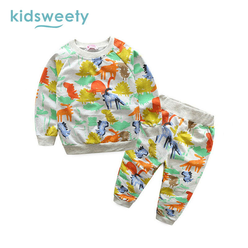 Kidsweety Kids Sets Cartoon Animal Pullover Boys Hoodie Pants Unisex Child Suits Girls Casual T Shirt