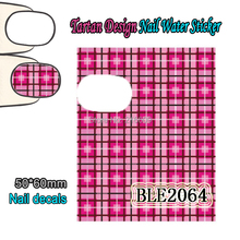 Nail Art 22Sheets/Lot Mixed Tartan Design Nail Sticker Colorful Nail Art Water Transfer Sticker Decal Decoration BLE2061-2071